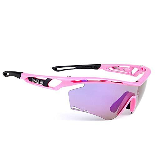 Fahrradbrille Radfahren laufbrille polarisierte sport sonnenbrille superlight rahmen design für herren und frauen 2 austauschbare linsen 8 farben Außenfahrschutzauge ( Color : Purple Frame Pink Arm )