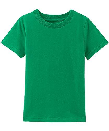 MOMBEBE COSLAND Jungen Baumwolle T-Shirt Grün Basic Tops Kurzarm (Grün, 122/6-7 Jahre) -