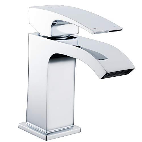gappo Garderobe Wasserhähne Single Griff Wasserfall Monoblock Waschtischarmatur, chrom poliert