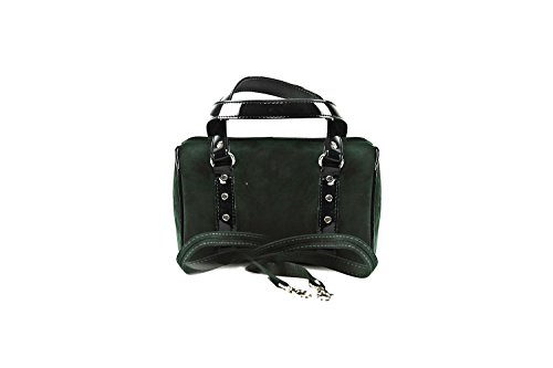 Bauletto sac femme ANNALUNA vert MADE IN ITALY camoscio borsetta da sera N331