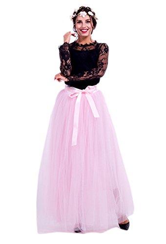 Honeystore Damen's Tüllrock Lang 5 Layer Prinzessin Kleider Lang Petticoat Ballettrock Maxi Unterrock Pettiskirt Lang One Size Rosa-01