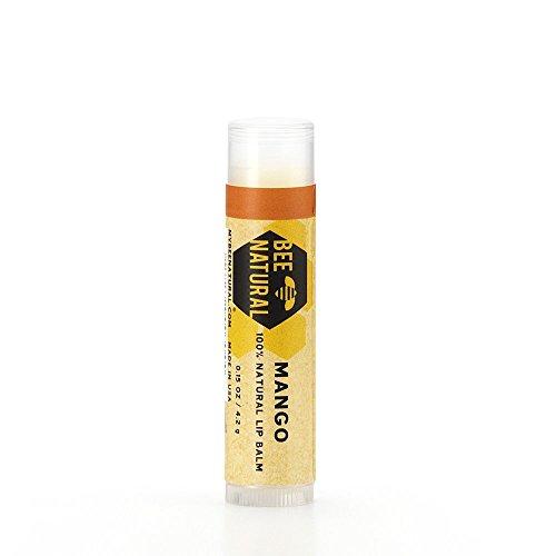 Bee Natural Lip Balm Balsamo per Labbra con Cera d'Api e Burro di Mango - 4 Confezioni da 4.2 g