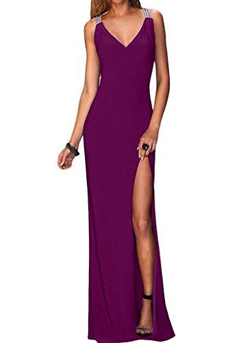 Donne Ivydressing v-scollatura sessualmente fessura Chiffon vestito lungo Promkleid vestito da partito di sera Bildfarbe