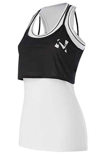 Naffta Fitness Camiseta de Asas, Mujer, Blanco/Negro, M