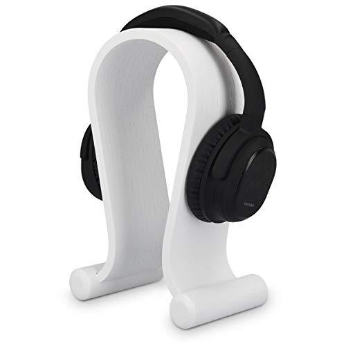 kalibri Kopfhörerhalter Kopfhörerständer Universal aus Holz - Kopfhörer Halter Headset Halterung - On Ear Headphone Stand - Eichenholz in Weiß