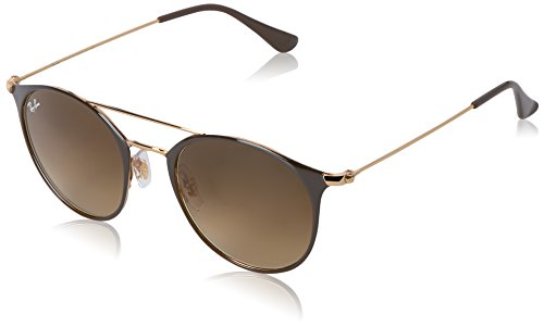 Ray-Ban Unisex-Erwachsene Sonnenbrille Rb 3546, Gold Top Brown/Browngradient, 49