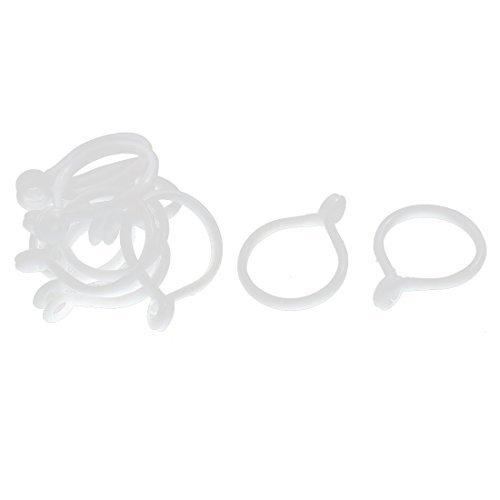 Plastique Anneaux Rideau Hanging Loops Blanc 12 Pcs