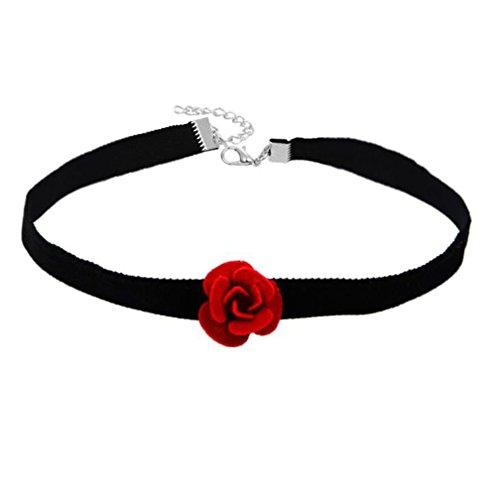 Hacoly ladies velluto choker rosso rosa fiore collana pendente compleanno san valentino festa nuziale gioielli per donna ragazza