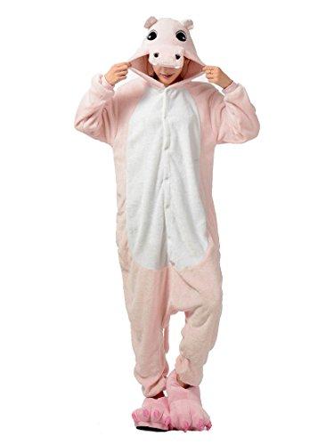 Honeystore Unisex Tier Pajama Hippo Cosplay Cartoon Jumpsuit Siamesische Kleidung Kostüm (Hippo Kostüme Baby)