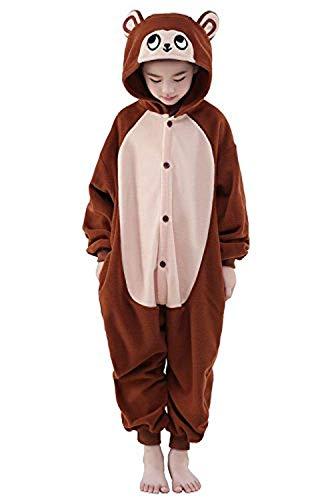 ABYED® Einhorn Kostüm Jumpsuit Onesie Tier Fasching Karneval Halloween kostüm Damen mädchen Herren Kinder Unisex Cosplay Schlafanzug, Brown Affe, Größe 85 - für Höhe 95-105 cm (3-4 Jahre)