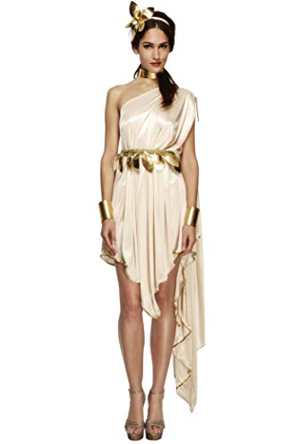 Fever Damen Göttin Kostüm, Kleid, Gürtel, Armmanschetten, Halsband und Haarreif, Transparent, Größe: S, - Womens Toga Kostüm Griechische