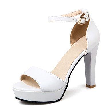 LvYuan Sandalen-Hochzeit Büro Kleid-Lackleder-Blockabsatz-D'Orsay und Zweiteiler Club-Schuhe-Schwarz Weiß Silber Beige Beige
