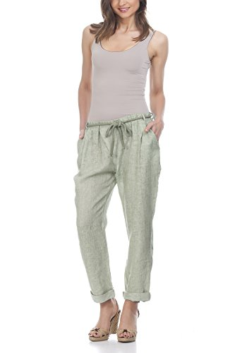 Laura Moretti - Leinenhose mit elastischer Taille und Kordelzug Grün