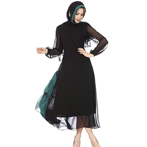 URIBAKY Damen Muslim Robe,Vintage Muslimisches langärmeliges Kleid Langes Slim Fit Dubai islamishen Kleid Kontrast-Stitching-Wind- Chiffon-Kleid