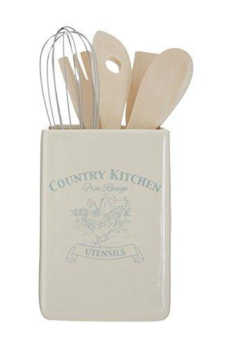 Premier Housewares Utensil Halter, Land Küche, Creme Dolomit, mit Werkzeugen Creme Utensil