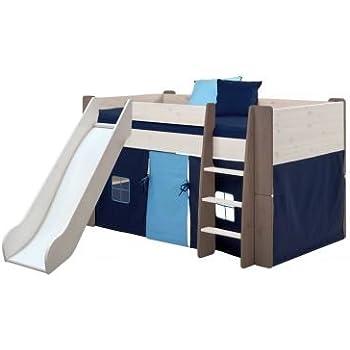 Steens Furniture Halbhochbett Mit Rutsche, Holz, Grau, 254 X 206 X 113 Cm