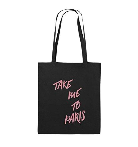 Comedy Bags - TAKE ME TO PARIS - Jutebeutel - lange Henkel - 38x42cm - Farbe: Schwarz / Silber Schwarz / Rosa