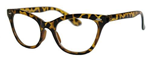 50er Jahre Damen Brille Cat Eye Nerdbrille Klarglas Katzenaugen Rockabilly Hornbrille BB (Braun Leo) (Cat Eye Brillen Vintage)