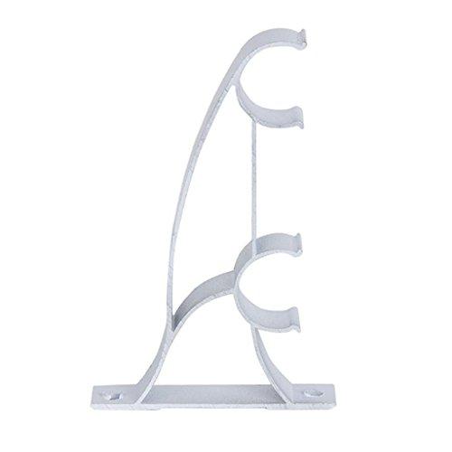 Ansel–Juego de Metal doble barras de cortina barras de cortina soportes (25mm), color blanco