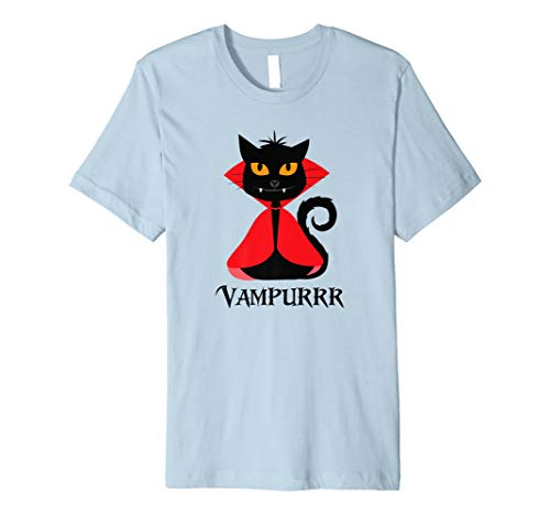 vampurrr Shirt Halloween Vampir schwarz Katze Zähnen rot Cape P1