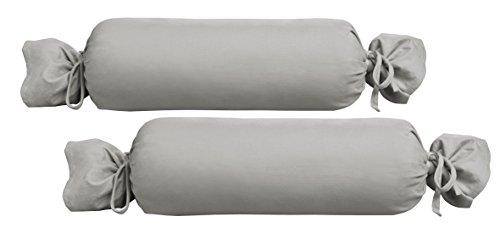 Biberna 0077144 Jersey-Kissenhülle für Nackenrolle aus 100 % Baumwolle, 2er-Pack, 15 x 40 cm Grau, 27 x 18 x 2 cm