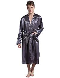 Bata de Color sólido de los Hombres túnica de Punto modificada modificada Suelta Gran tamaño Manga
