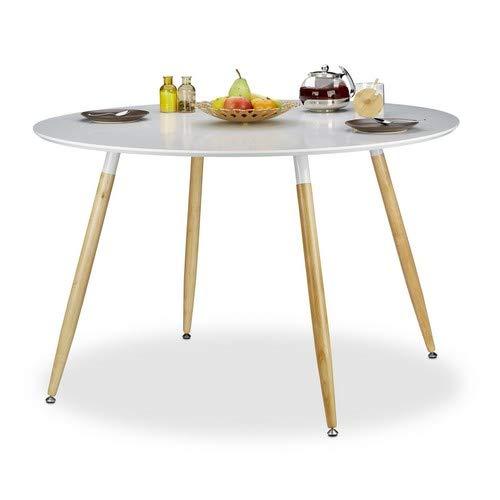 Relaxdays Runder Esstisch ARVID, groß, Holz, HxD: 75 x 120 cm, Beine natur, Gummi Untersetzer, weiß -