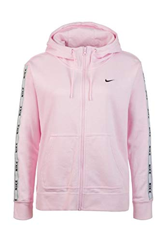 Nike Damen W NSW Hoodie FZ Logo Tape Sweatshirt, Pink Foam/White/Bl, L