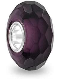 Bling Jewelry Lila Kristall Glas simuliert Amethyst Charm Perle Silber