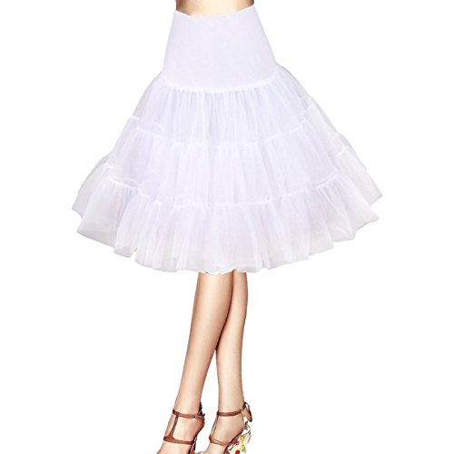 Honeystore Damen's 50s Rock'n'Roll Ballet Petticoat Abschlussball Party Halloween Kostüme Tutu Rock Weiß Medium (Essen Halloween Kostüm Diy)