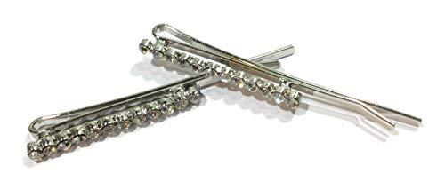 Lot de 2 pinces à cheveux avec 12 strass brillants en métal argenté 5,5 cm