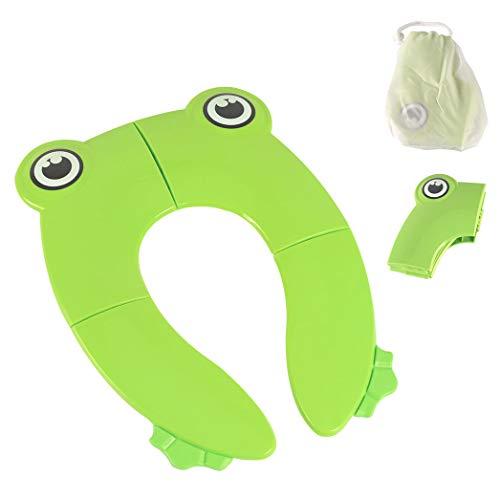 Copriwater pieghevole, grande, antiscivolo, in silicone, portatile, riutilizzabile, con borsa per il trasporto, per bambini, colore: verde