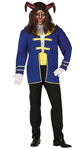 Guirca Costume Principe Adam Bestia Disney Uomo, Colore Blu,Nero e Giallo, L, 88585