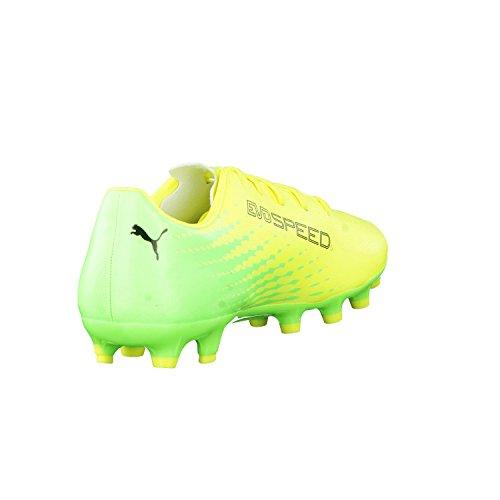 Puma Evospeed 17.5 Ag Jr, Chaussures de Football Mixte Enfant Safety Yellow-Puma Black-Green
