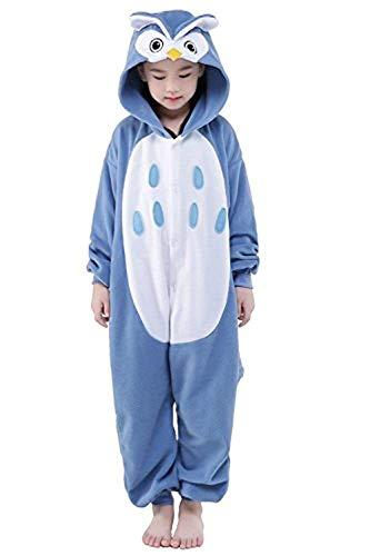 ABYED® Einhorn Kostüm Jumpsuit Onesie Tier Fasching Karneval Halloween kostüm Damen mädchen Herren Kinder Unisex Cosplay Schlafanzug, Eule, Größe 85 - für Höhe 95-105 cm (3-4 Jahre) (Damen Eule Kostüm)