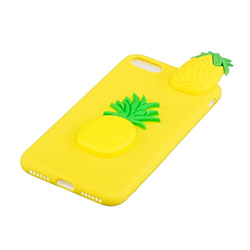 Cover iPhone 7 Silicone, LuckyW TPU Silicone Transparent Custodia per Apple iPhone 7 7S (4.7 pollici) 3D Protettivo Shell Clear Limpido Bumper Case Cover Ultra Sottile Ultra Slim Thin Flessibile Skin  Ananas