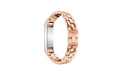 Für Fitbit Alta HR Armband, Fitbit Alta Uhrenarmband, AISPORTS Fitbit Alta Edelstahl Skalen Design Smart Watch Ersatzbänder Armband für Fitbit Alta / Alta HR Fitness Zubehör - Roségold