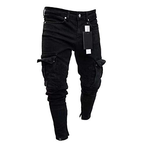 Multi-pocket Hose (Shawnlen Männer Frühling lässig Reine Farbe elastische Slim Fit Reißverschluss Multi-Pocket Overall Lange Hosen (S, schwarz))