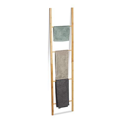 Bambus-wand-handtuchhalter (Relaxdays Bambus Handtuchleiter, klappbar, 4 Handtuchstangen, Handtuchständer zum Hinstellen, HBT 180 x 42 x 2 cm, Natur)