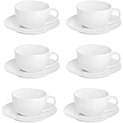 Argon Tableware White Cappuccino Large Coffee Cup/Saucer Set - 320ml (11oz) - Set of 6
