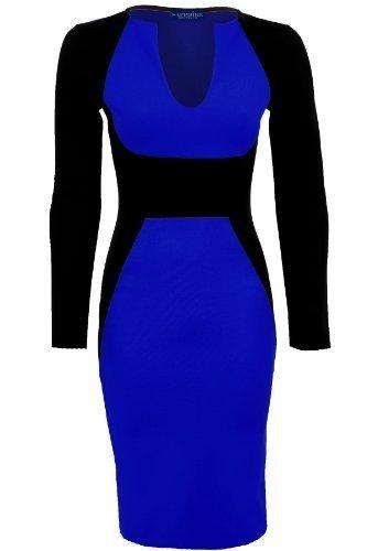 Branded - Robe moulante contrastante, décolleté en V, longueur genoux Bleu roi