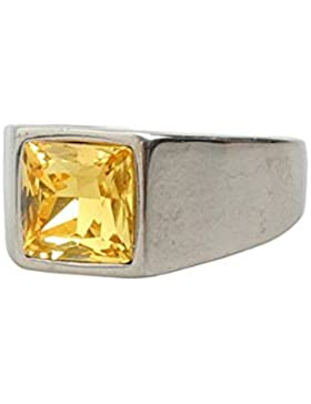 Epinki Vintage Ringe für Herren Edelstahl Gelb Quadrat Zirkonia Königlich Freundschaftsringe Polished