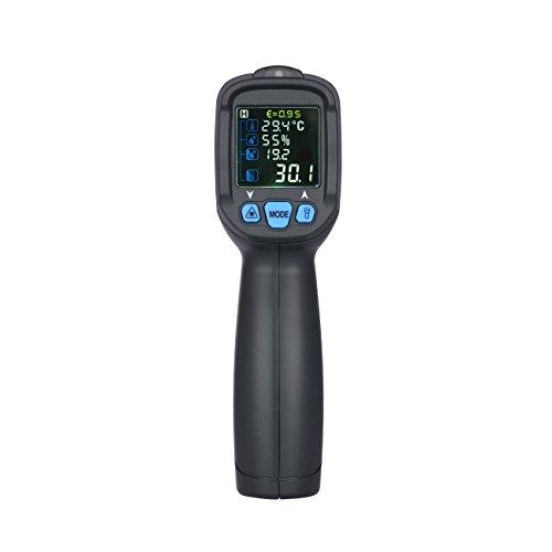 Thermomètre Infrarouge Digitale Tsing Portable Sans Contact Grand Ecran LCD Couleur Température -50~800°C 12:1 avec Emissivité Réglable Température Alarme Rapid Rétroéclairage