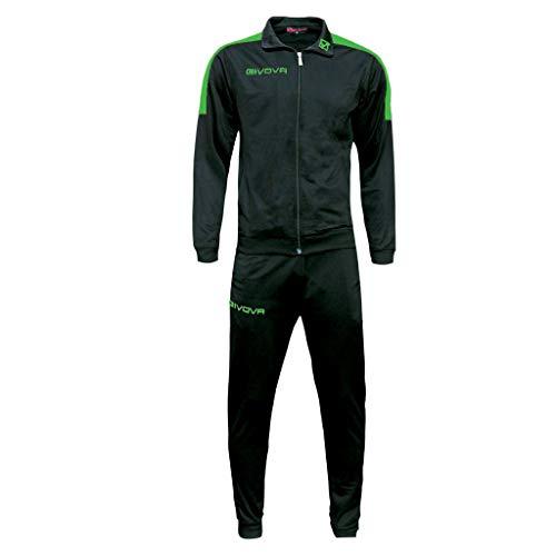 givova Revolution, Tuta da Ginnastica Uomo, Donna, Unisex, Multicolore (Nero/Verde, XL)