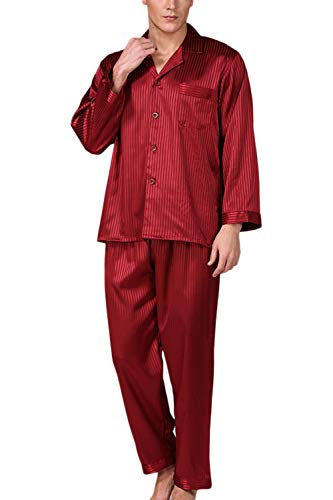 Männer Seide Pyjama Setzen Lange Ärmel Satin - Soft - Button - Down - Nachtwäsche Anzug rot M (Pyjama Floral Satin)
