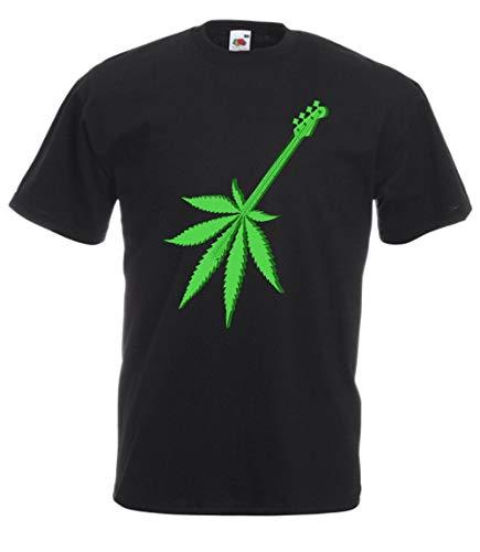 MFAZ Morefaz Ltd Herren Und Damen T-Shirt Cannabis Leafes Gitarre Ganja Welt Weed Rasta Kurzarm Shirt 420 (Ganja Guitar Black T-Shirt NR 21, XL)