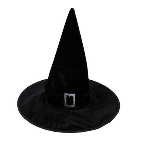 AffoOn Schwarzer Velour Hexen Zauberin Hut Halloween Kostüm Party Kostüm Zubehör (Zauberin Kostüm Muster)