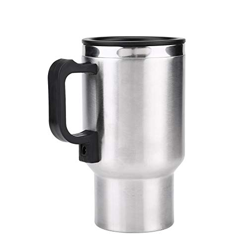 Fdit 12V 450ML Hervidor de Agua para Auto eléctrico en Acero Inoxidable Viaje Calefacción Taza de café Taza de té Auto para Camiones
