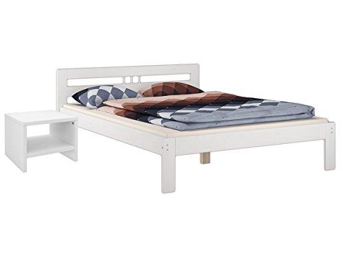 Erst-Holz® Futonbett Kiefer massiv Weiss Doppelbett 140x200 Massivholz Rollrost Nachttisch 60.64-14 W K5 -