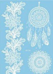 Attrape-rêves Mandala Tattoo Blanc blanche Tatouages pour le corps Henna style j013 a